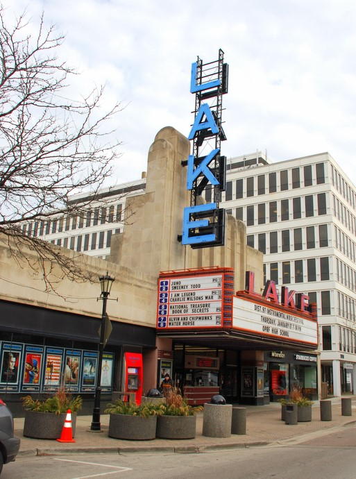 Lake Street movie theatre in downtown Oak Park, Illinois