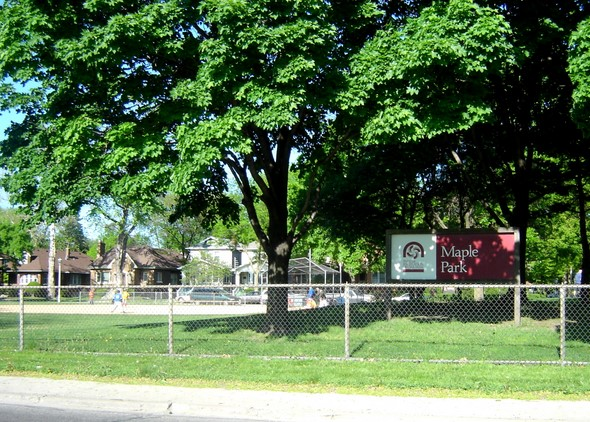 One of the baseball diamonds in the background at Maple Park in Oak Park, Illinois