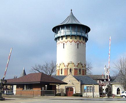 Riverside, Illinois Water Tower & Train Station Depot