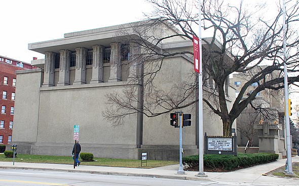Frank Lloyd Wright landmark, Unity Temple in downtown Oak Park, Illinois, as seen from the north side of Lake Street