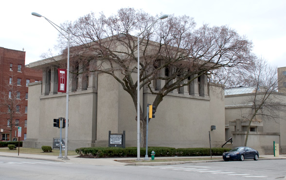 Frank Lloyd Wright landmark, Unity Temple in downtown Oak Park, Illinois
