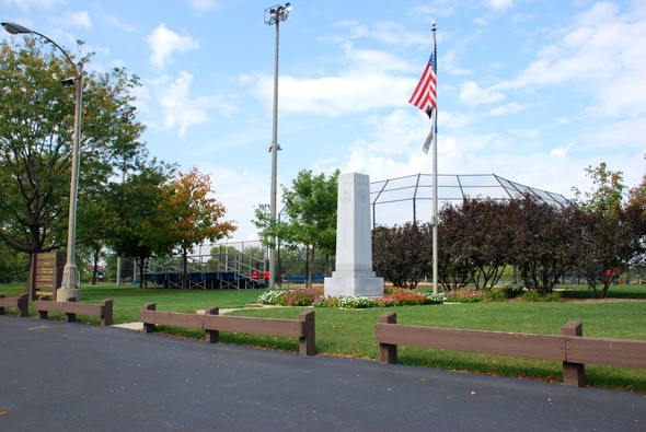 Entrance and one of the baseball diamonds at Veteran's Park in North Riverside, Illinois