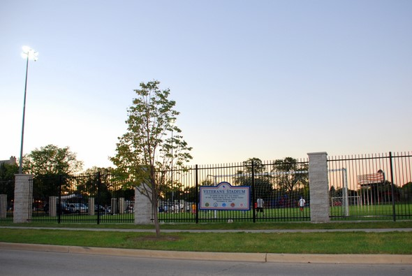Veteran's Stadium in Forest Park, Illinois (soccer field with children's playground and skate park behind the field)