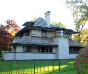 Hills-DeCaro home (Frank Lloyd Wright)-The Hills-DeCaro home, originally architected by Frank Lloyd Wright in 1906 - reconstructed in 1977. 313 Forest Ave. (medium sized photo)