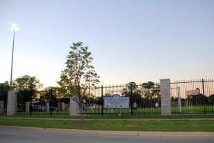 Veteran's Stadium-Veteran's Stadium in Forest Park, Illinois (soccer field with children's playground and skate park behind the field) (medium sized photo)