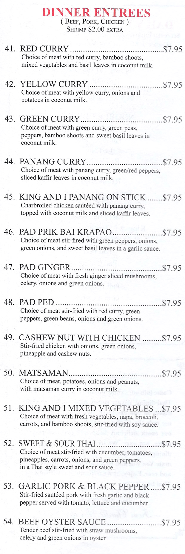Menu for King & I Thai Restaurant in Oak Park, Illinois