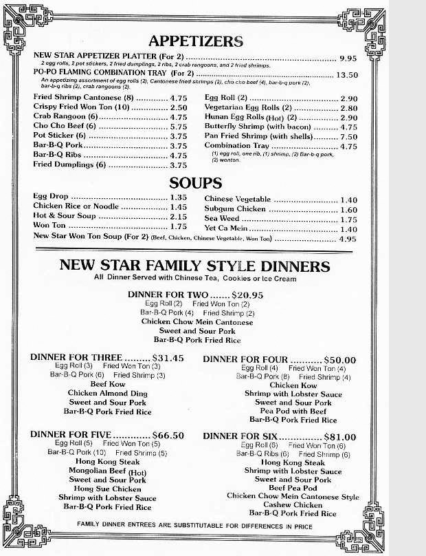 Menu for New Star Chinese Restaurant in Elmwood Park, Illinois